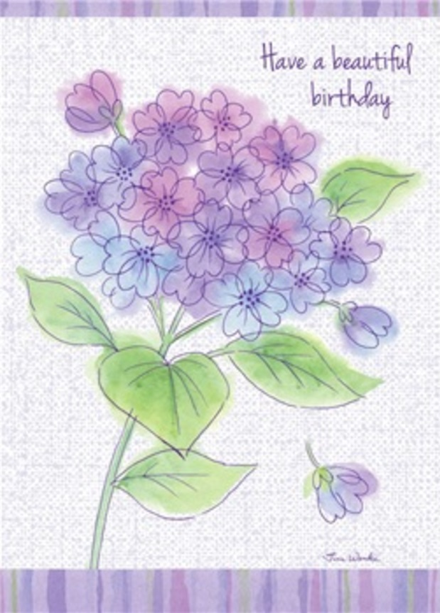Birthday Card, Purple Floral Bunch-birthday, card, greeting card, purple, flowers