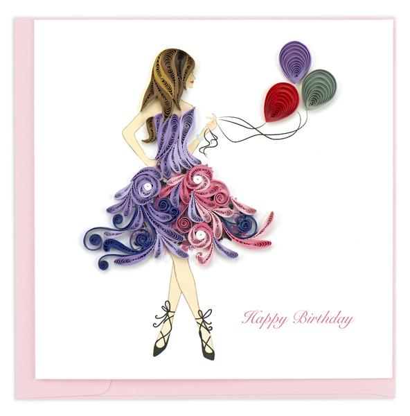 Quilling Card, Birthday Girl-quilling card, handmade card, birthday card