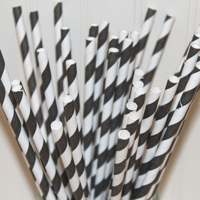 Black Striped Paper Straws-black striped paper straws