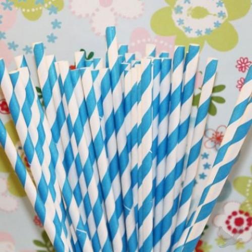 Blue Striped Paper Straws-blue striped paper straws, jacksonville paper straws, online paper straws