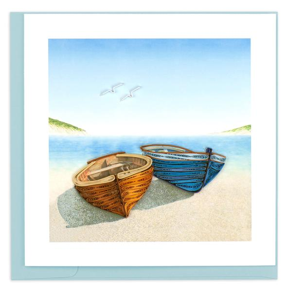 Quilling Card, Boats-greeting card, quilling card, handmade card