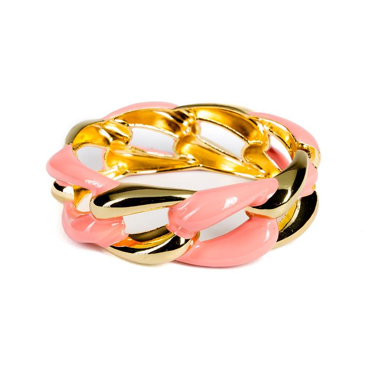 Enameled Link Bangle - Peach-enameled, bangle, bracelet, colorful bracelet, gold bracelet, link bracelet, chain link bracelet, jacksonville florida