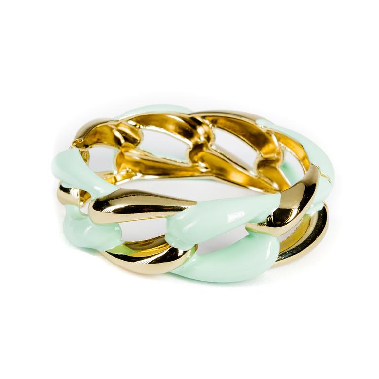 Enameled Link Bracelet - Mint-enameled, bangle, bracelet, link bracelet, chain link bracelet, colorful bracelet, gold bracelet, jacksonville florida