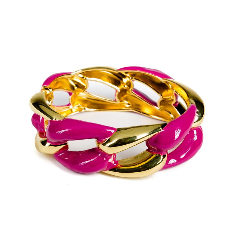 Enameled Link Bracelet - Plum-bracelet, bangle, enameled, colorful bracelet, gold bracelet, link bracelet, chain link bracelet, jacksonville florida