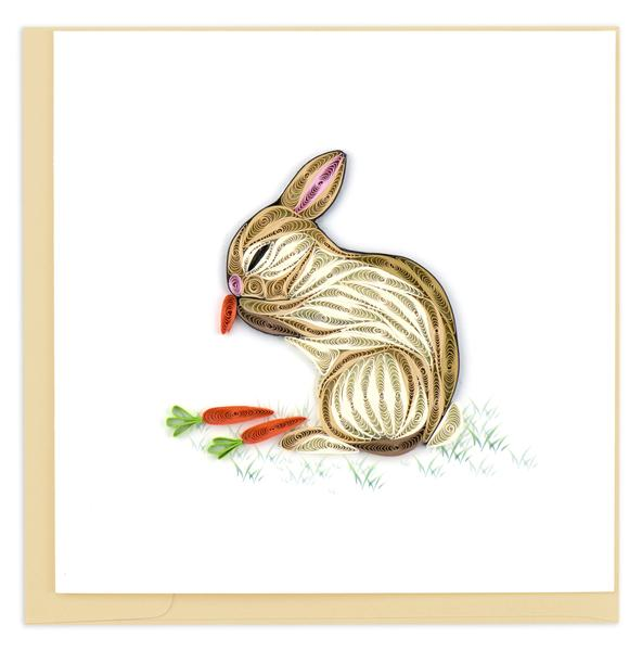Quilling Card, Bunny with Carrots-quilling card, handmade card, greeting card