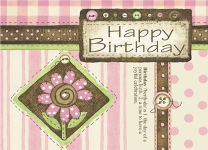 Birthday Card, Buttons & Polka Dots-birthday, card, buttons, polka dots