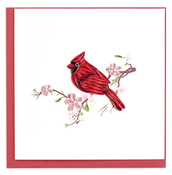 Quilling Card, Cardinal-greeting card, quilling card, handmade card