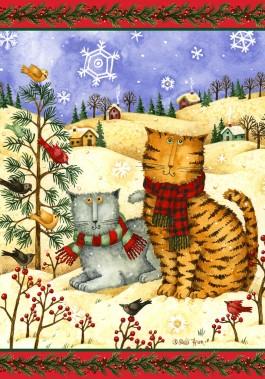 Mini Flag, Cats in Scarves-