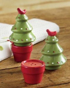 Ceramic Potted Christmas Tree Salt & Pepper Shakers-christmas, tree, salt, pepper, decor, food, shaker
