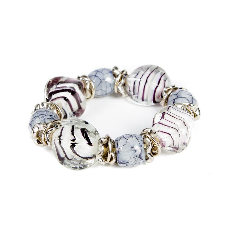 Chunky Glass and Stone Bracelet - Black and White-glass beads, bracelet, stone, jacksonville florida