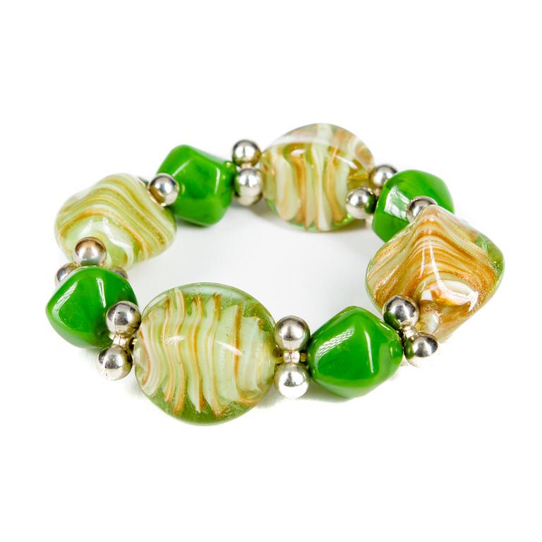 Chunky Glass and Stone Bracelet - Olive-glass beads, bracelet, stone, jacksonville florida