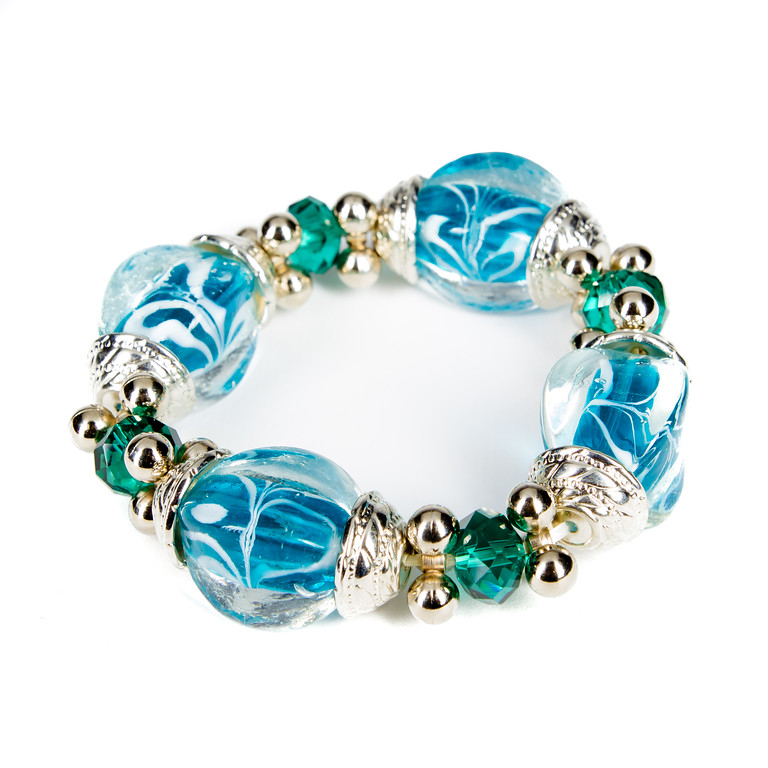 Chunky Glass and Stone Bracelet - Turquoise-glass beads, bracelet, jacksonville florida