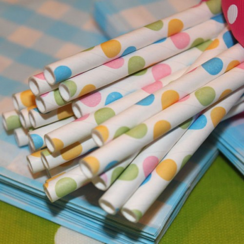 Confetti Dots Multi-colored Paper Straws-confetti dots paper straws