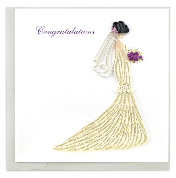 Quilling Card, Congratulations Bride-congratulations card, quilling card, handmade card