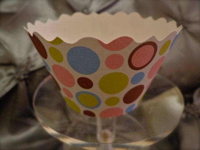 Cupcake Wrapper, Pastel Polkadots-cupcakes, birthday parties, showers, cupcake wrappers, desserts, party