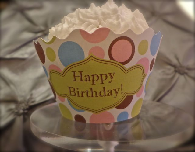 Cupcake Wrapper - Happy Birthday!-cupcakes, birthday, cupcake wrappers, birthday party