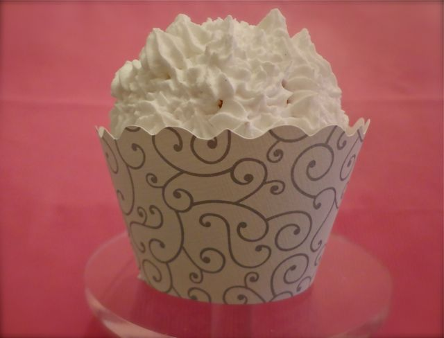 Cupcake Wrapper - silver and white-cupcakes, cupcake wrappers, parties, showers, desserts