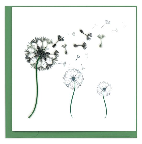 Quilling Card, Dandelion-greeting card, quilling card, handmade card