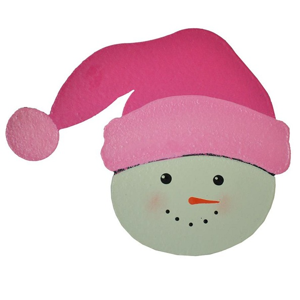 Snowman Head with Red Santa Hat Magnet-santa, snowman, magnet, photo, board, carol, roeda
