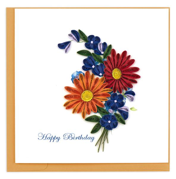 Quilling Card, Birthday Wildflowers-birthday card, handmade card, quilling card,
