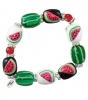 Fresh Watermelon Bracelet-bracelet, summer, watermelon, glass beads, Kate & Macy