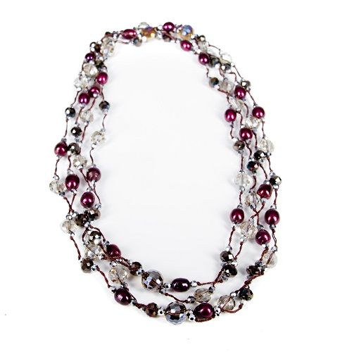 Glamorous Double Strand Necklace - Wine and Crystal-glamorous, necklace, jewelry