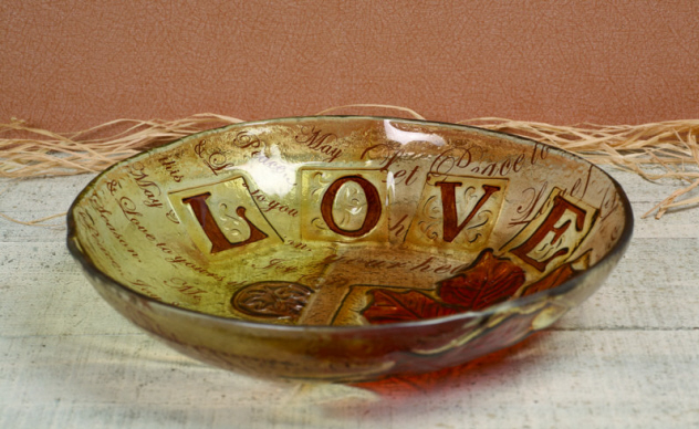 Glass Harvest Bowl-ceramic, glass, bowl, harvest