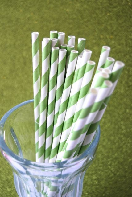 Lime Green Striped Paper Straws-lime green striped paper straws, vintage paper straws, retro straws, jacksonville striped paper straws
