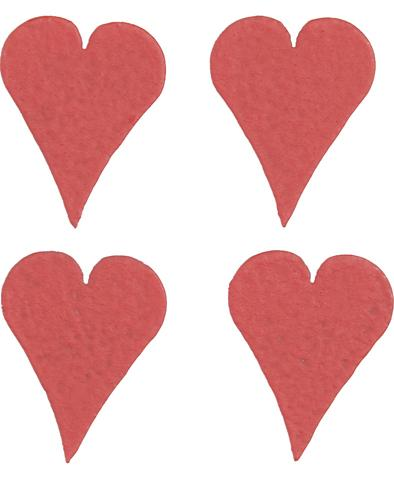 Mini-Hearts, 4-Pack Red-hearts, magnet, Roeda