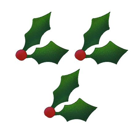 Magnetic Holly Green, 3-Pack-Christmas, Magnet, Photo, Display