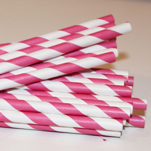 Hot Pink Striped Paper Straws-Paper straws, striped paper straws, retro paper straws, hot pink