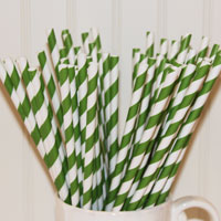 Bright Green (kelly) Striped Paper Straws-paper straws, striped straws, party, children's party