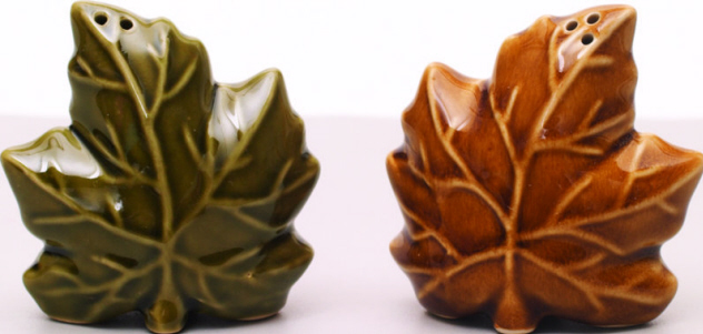 Ceramic Leaves Salt & Pepper Shaker-ceramic, salt, pepper, fall, thanksgiving