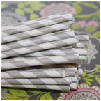 Light Grey Striped Paper Straws-paper straws, striped straws, striped, grey,