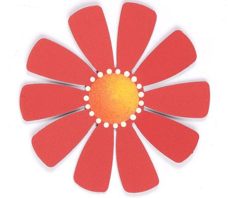 Medium Flower, Red-Roeda, magnet, flower, photo, display