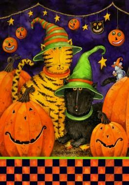 Mini Flag, Halloween Cats-
