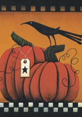Mini Flag, Pumpkin and Crows-