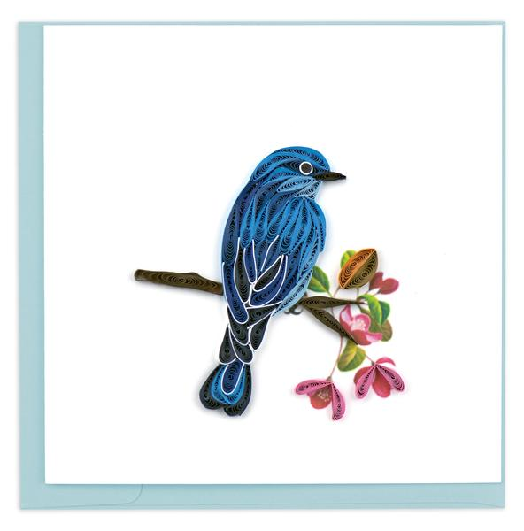 Quilling Card, Mountain Bluebird-greeting card, quilling card, handmade card