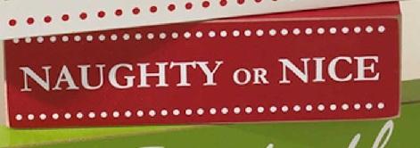 Naughty or Nice Wooden Brick-brick, holiday, christmas