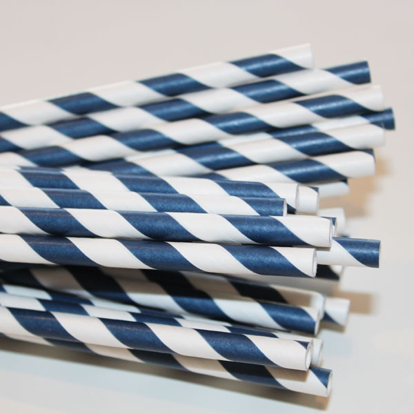 Navy Striped Paper Straws-paper straws, striped straws, vintage, party