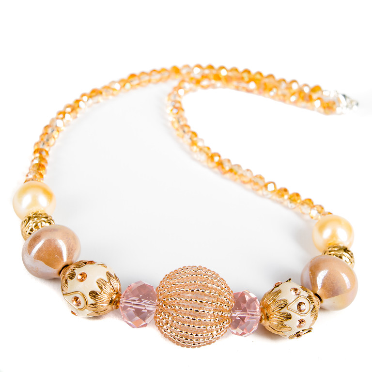 Ornate Beaded Necklace - Gold-ornate, beaded necklace, necklace, gold necklace, jacksonville florida