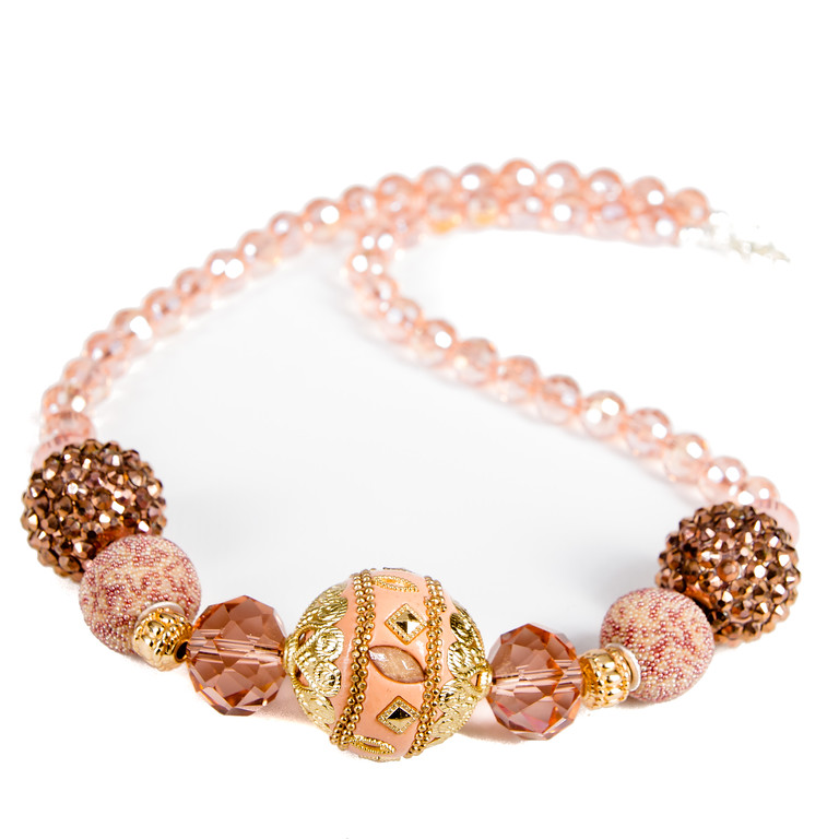 Ornate Beaded Necklace - Peach and Bronze-ornate, beaded necklace, peach and bronze, necklace, jacksonville florida