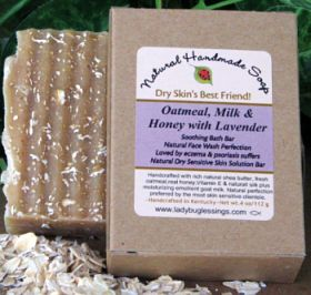 Handmade Oatmeal Soap - Oatmeal, Milk and Honey with Lavender-Oatmeal, lavender, natural soap, sensitive skin soap