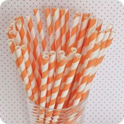 Orange Striped Paper Straws-paper straws, orange paper straws, striped paper straws, jacksonville paper straws