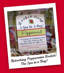 Handmade Loofah Soap - Peppermint-peppermint, loofah, spa, natural, Ladybug Blessings