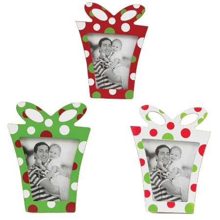 Polka Dot Present Picture Frame-photo, frame, holiday