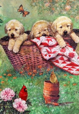 Large Flag, Puppies in a Basket-outdoor flag, decorative flag, puppies