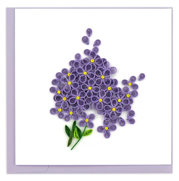 Quilling Card, Purple Lilacs-quilling card, handmade card, greeting card