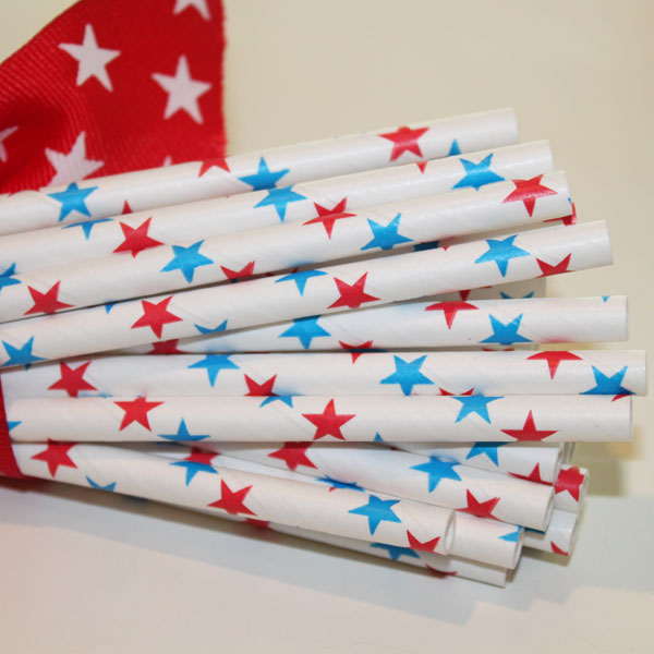 Red and Blue Stars Paper Straws-paper straws, red, white, blue, patriotic, stars and stripes,