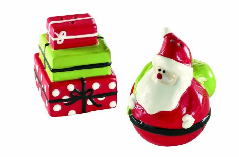 Ceramic Stana and Presents Salt & Pepper Shakers-santa, presents, salt, pepper, shaker, food, christmas, tabletop, decor